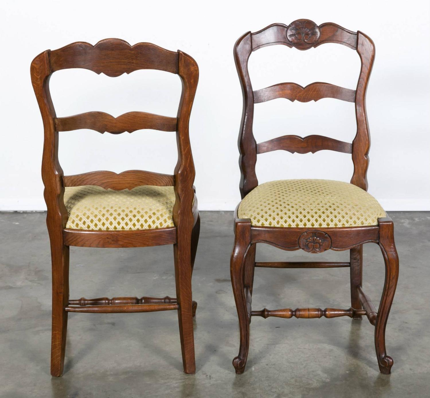 Set of six country french ladder back chairs with for Upholstered dining chairs for sale