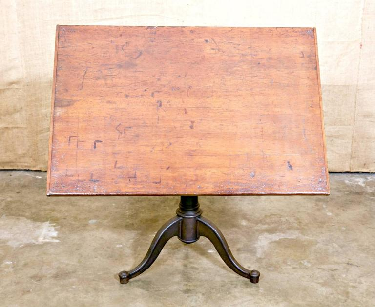 Schoolhouse Vintage Cast Iron Articulating Tripod Base Drafting Table For