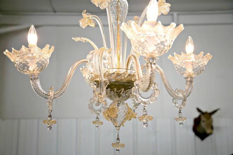 Italian murano gold dusted glass chandelier 1 | Glass
