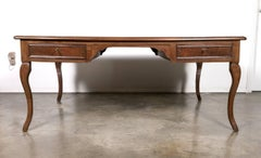 Grand French Louis XV Style Walnut Partner's Desk with Marquetry Inlay