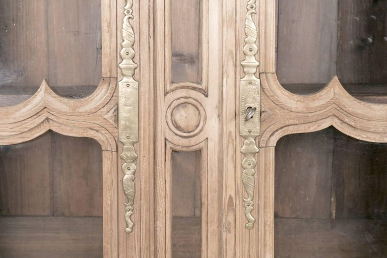 Pine 19th Century French Louis XV Bleached Oak Buffet Deux Corps from Normandy For Sale