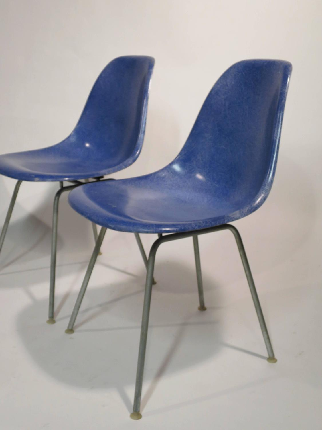 Set of Four Eames for Herman Miller Fiberglass Chairs at
