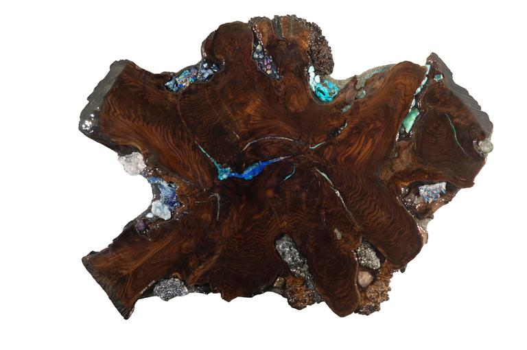 American Contemporary Art Sculpture or Coffee Table Claro Walnut with Crystals Gemstones For Sale