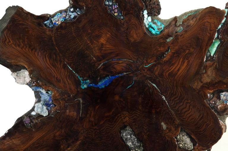 Free Standing Contemporary Art Sculpture, Claro Walnut with Crystals & Gemstones 4