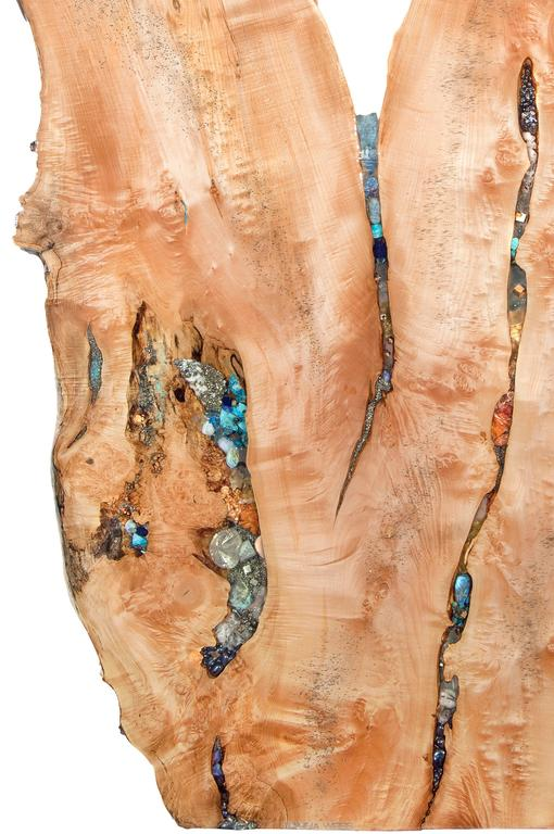 Standing wood sculpture in Maple with crystal and gemstone inlays.  Stones include but not limited to: blue topaz, citrine, garnet, labradorite, lapis lazuli, moonstone, ruby, and turquoise. Custom work available. Danna Weiss store.