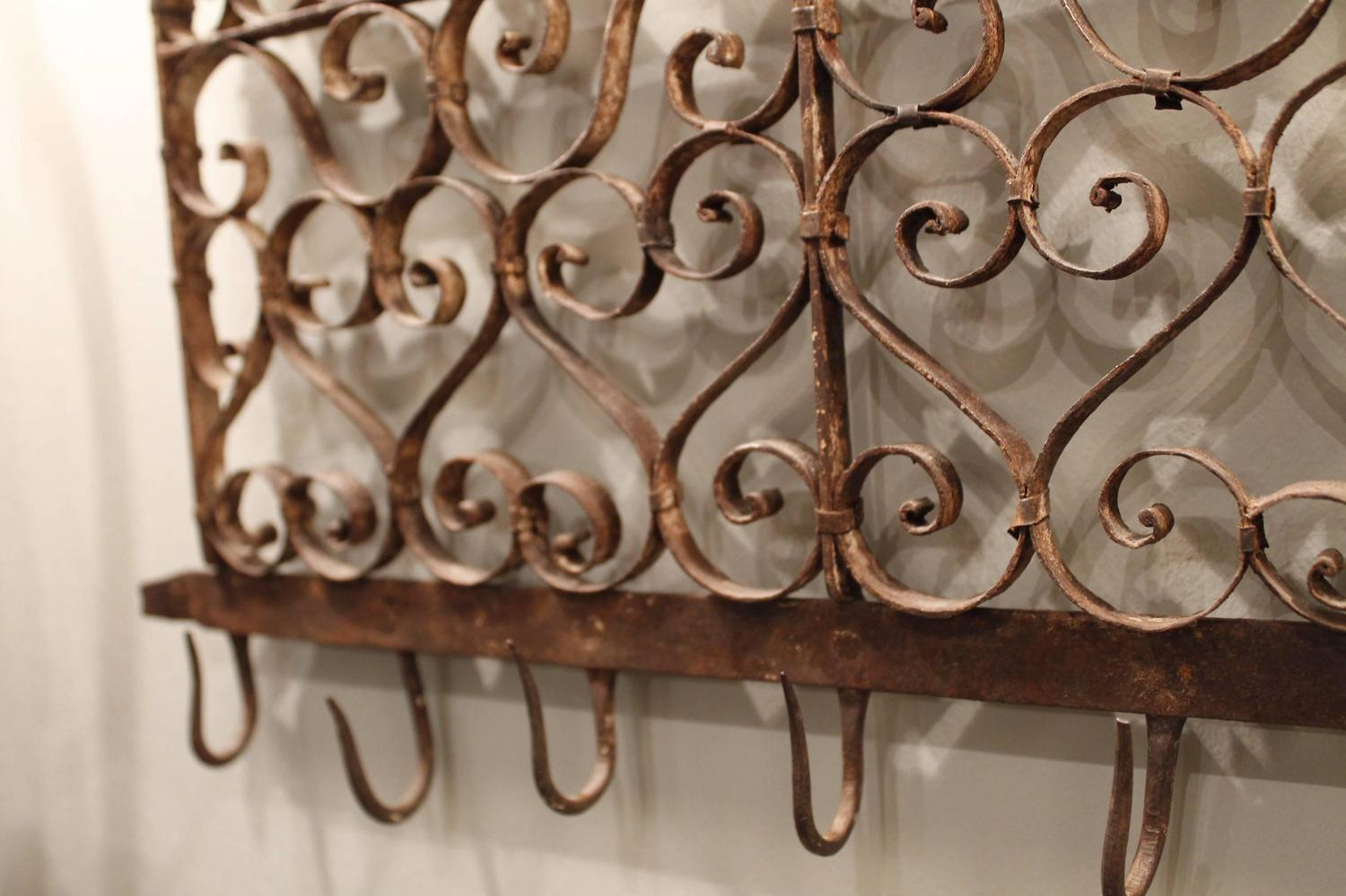 Continental wrought iron utensil rack with initials at 1stdibs - Wrought iron silverware ...