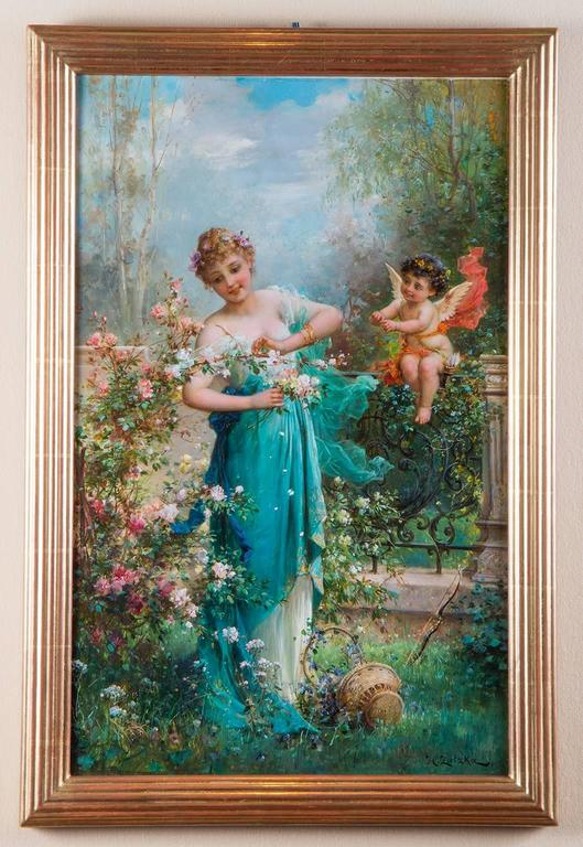 in the flower garden with cupid pair of paintings by h zatzka - Flower Garden Paintings