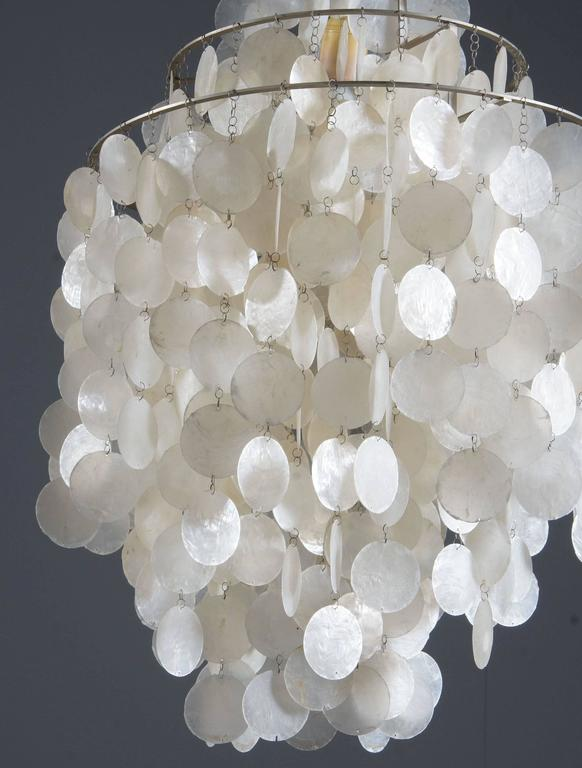 Original 1964 thin capize shell chandelier designed by Verner Panton for Luber, Switzerland.