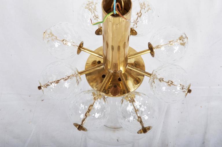Beautiful, Rare Brass and Glass Pendant by Kamenicky Senov 6