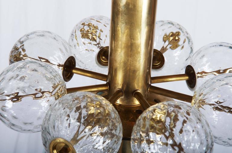 Beautiful, Rare Brass and Glass Pendant by Kamenicky Senov For Sale 1
