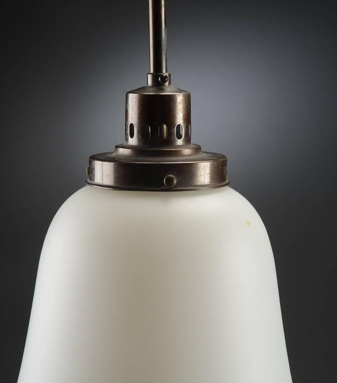 Danish Bauhaus Opaline Glass Pendant Lamp in the Style of Peter Behrens For Sale