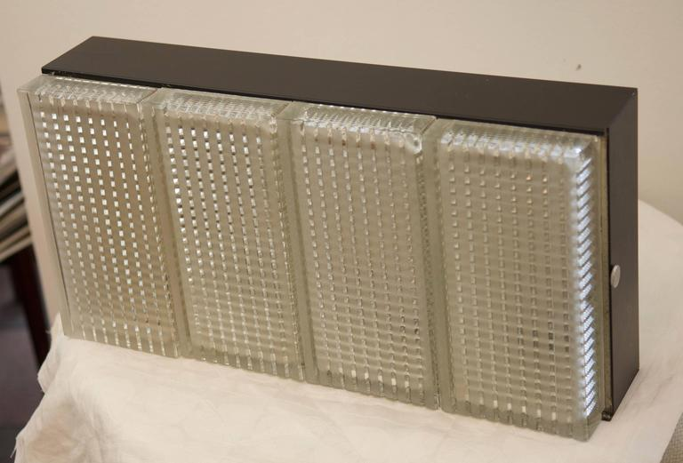 Czech Large Rectangular Wall or Ceiling Lamp from 1970s For Sale