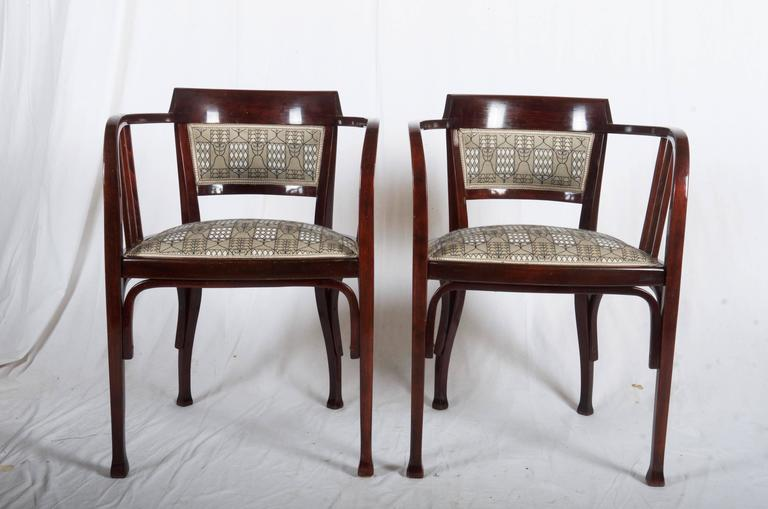 Vienna Secession Thonet Armchairs Attributed to Otto Wagner For Sale