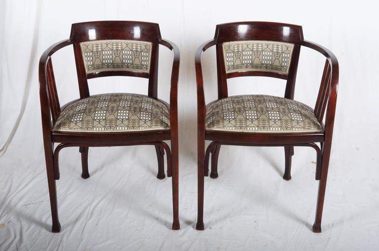 Austrian Thonet Armchairs Attributed to Otto Wagner For Sale