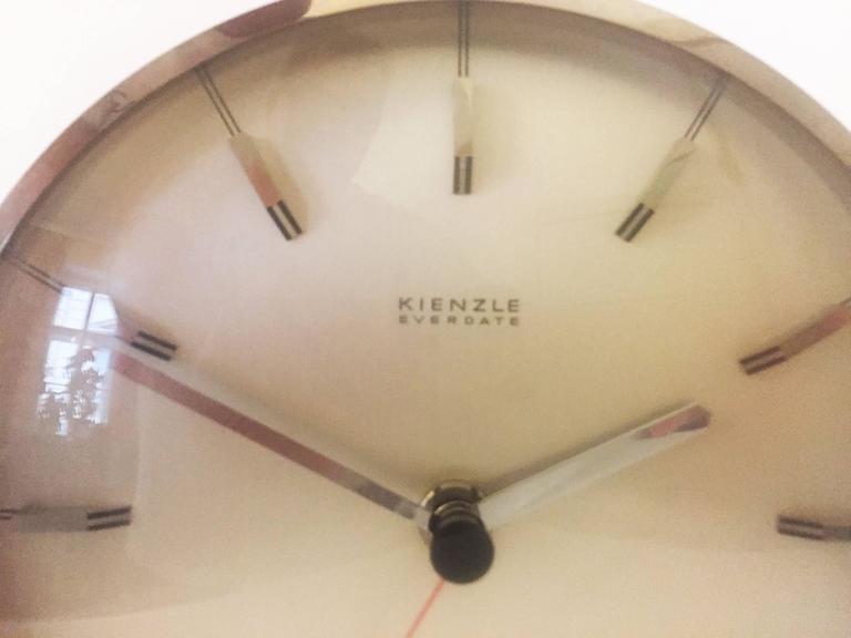"Chromed Mid-Century ""Everdate"" Table Clock by Kienzle 4"
