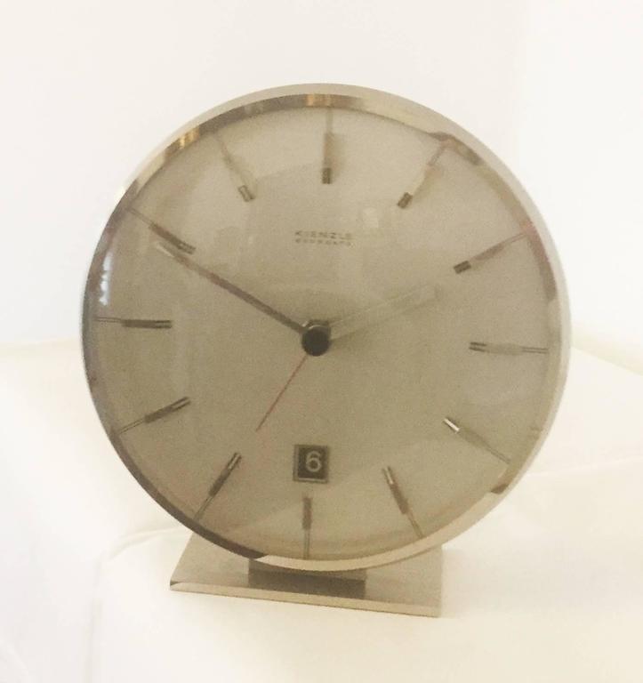 "Chromed Mid-Century ""Everdate"" Table Clock by Kienzle 2"