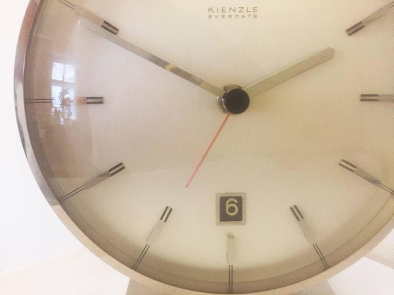 "Chromed Mid-Century ""Everdate"" Table Clock by Kienzle 6"