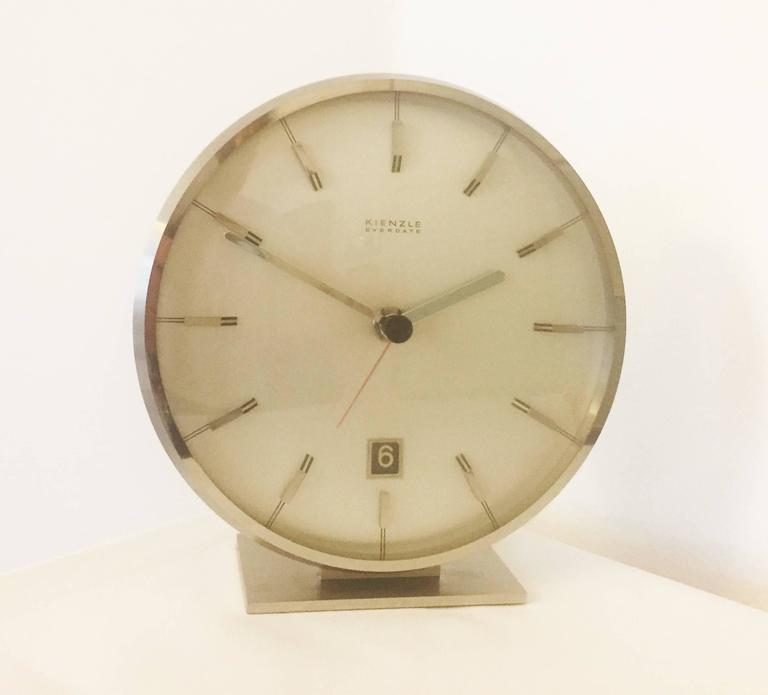 "Chromed Mid-Century ""Everdate"" Table Clock by Kienzle 7"