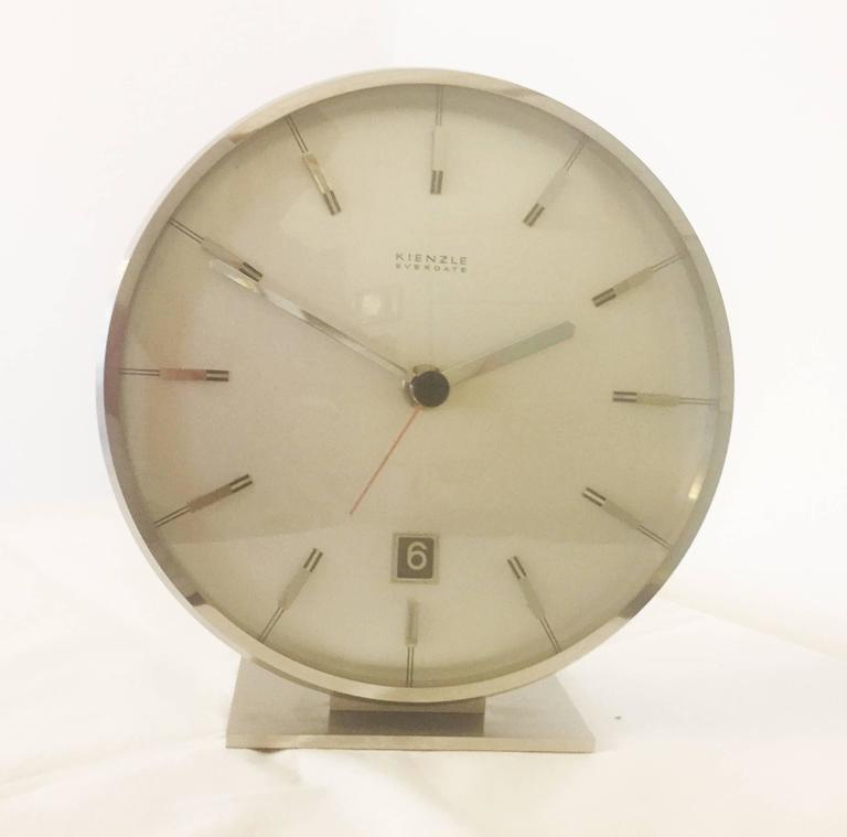 "Chromed Mid-Century ""Everdate"" Table Clock by Kienzle 8"