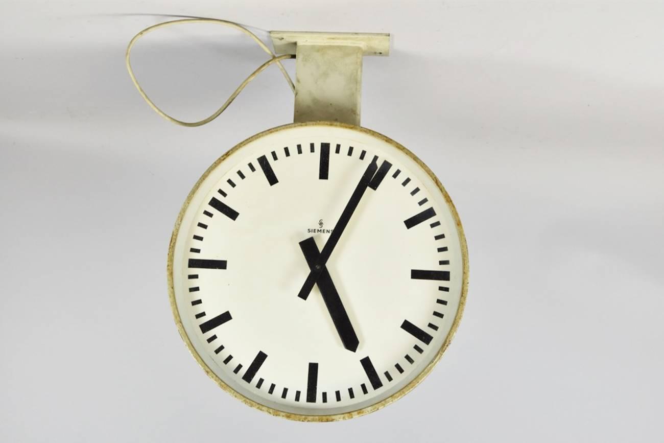 Siemens Halske Double Faced Train Station Clock For Sale