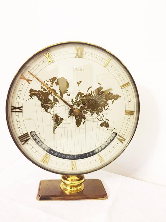 Big Kienzle Weltzeituhr Modernist Table World Timer Zone Clock, 1960s 2
