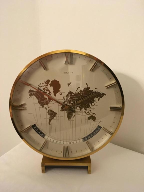 Big Kienzle Weltzeituhr Modernist Table World Timer Zone Clock 2