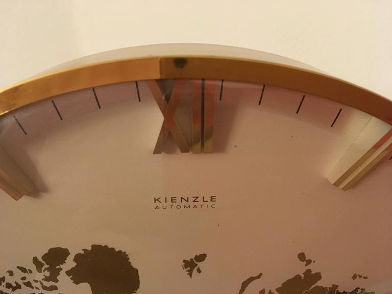 Big Kienzle Weltzeituhr Modernist Table World Timer Zone Clock 4