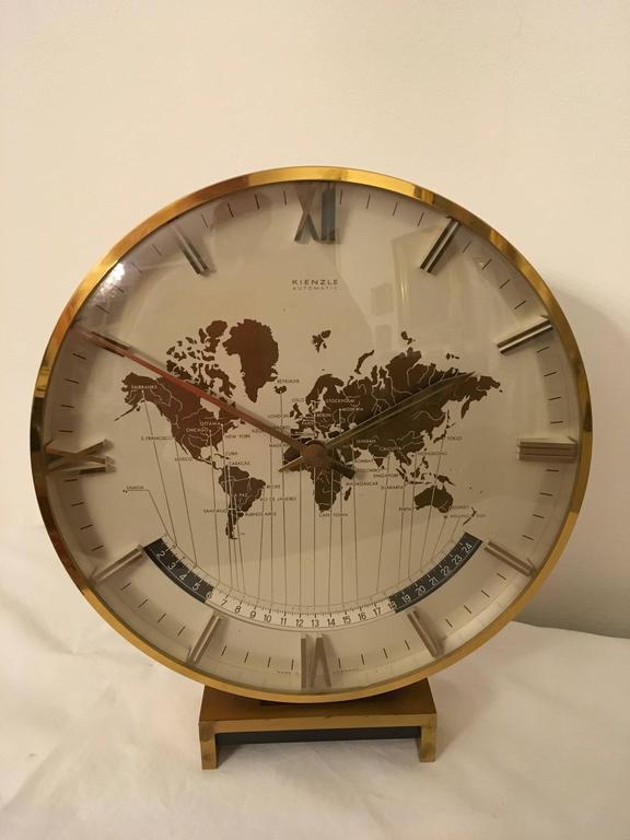 Big Kienzle Weltzeituhr Modernist Table World Timer Zone Clock 6