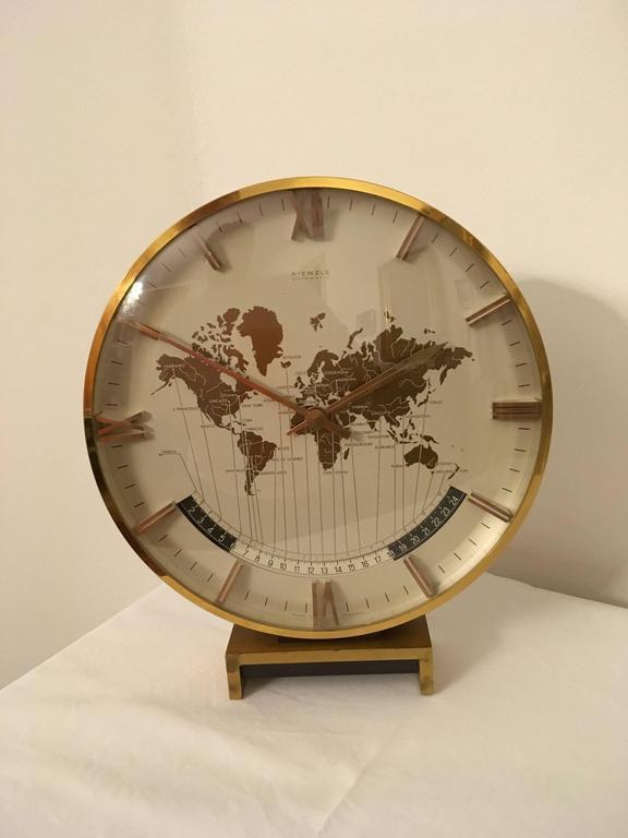 Big Kienzle Weltzeituhr Modernist Table World Timer Zone Clock 8