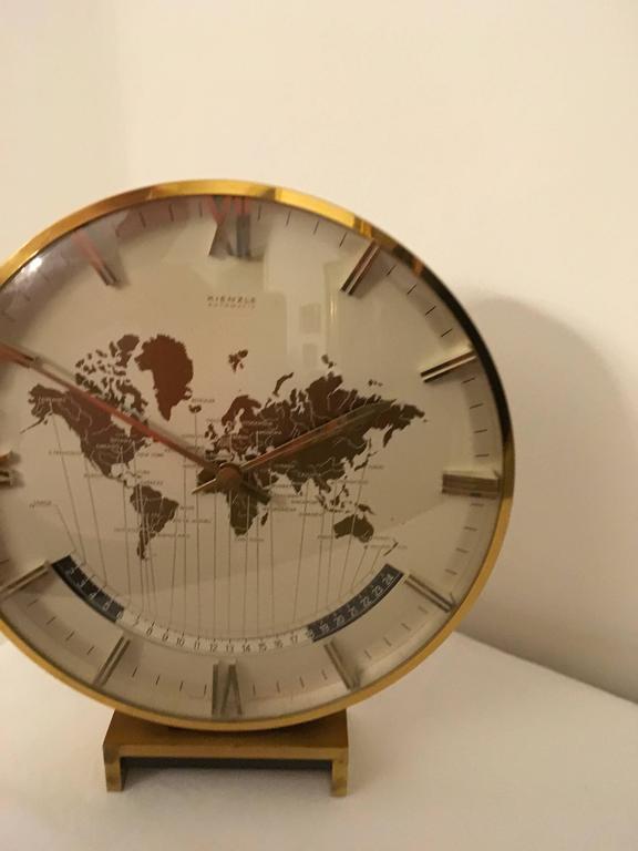 Big Kienzle Weltzeituhr Modernist Table World Timer Zone Clock 7