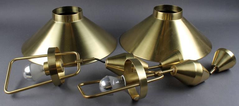 Mid-20th Century Mid-Century Adjustable Danish Brass Pendant by Lyfa For Sale