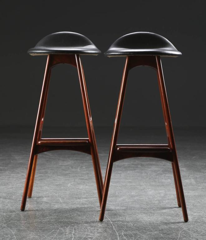Scandinavian Modern Rosewood and Leather Bar Stools by Erik Buch For Sale