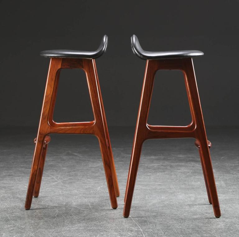 Danish Rosewood and Leather Bar Stools by Erik Buch For Sale