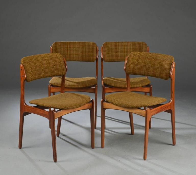 Danish Set of Four Rosewood Dining Chairs by Erik Buck For Sale