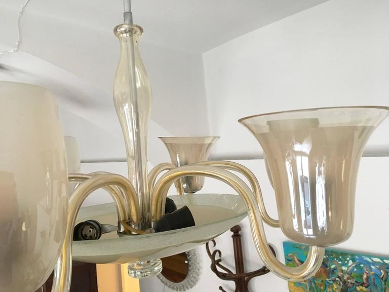 Large Vintage Bohemian Hand Blow Glass Chandelier For Sale