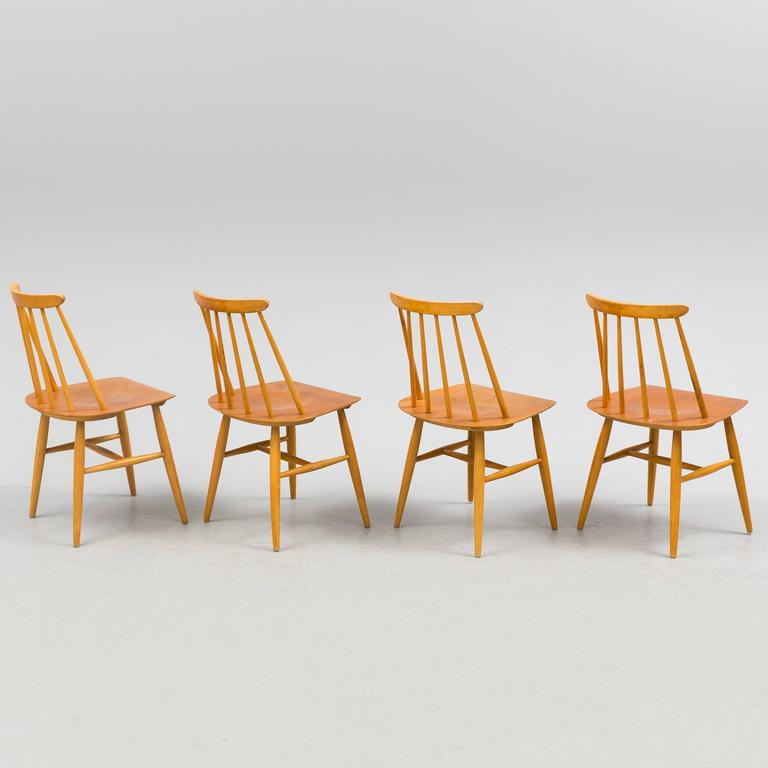 Swedish Dining Chairs by Ilmari Tapiovaara, Model Fanett 55 T For Sale