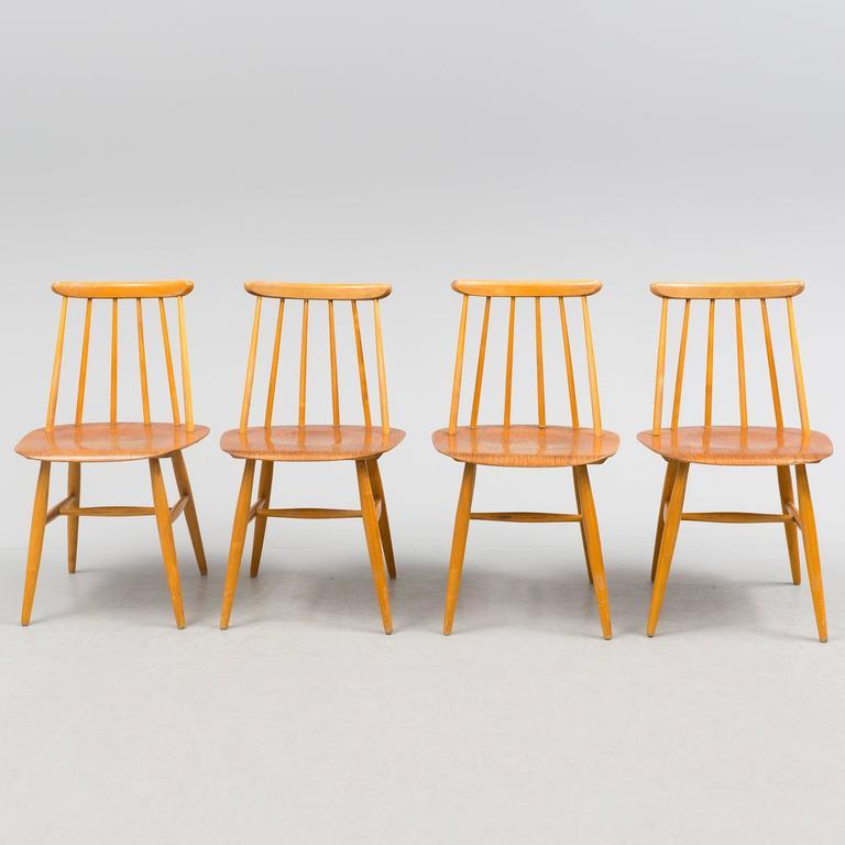 Scandinavian Modern Dining Chairs by Ilmari Tapiovaara, Model Fanett 55 T For Sale