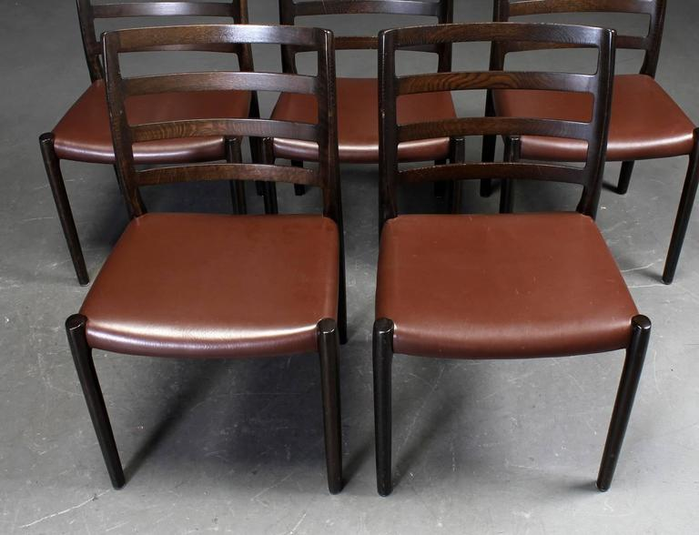 Scandinavian Modern Set of Six Oak Dining Chairs by Niels O. Moller for J.L.Moller For Sale