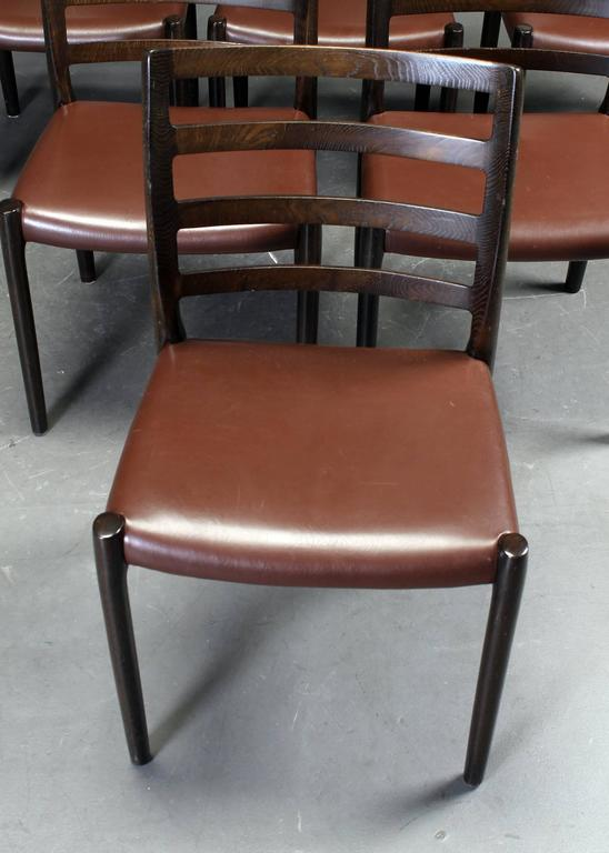 Leather Set of Six Oak Dining Chairs by Niels O. Moller for J.L.Moller For Sale