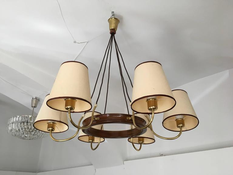 Mid-Century Modern Beautiful Large Brass Chandelier Attributed to J.T. Kalmar For Sale