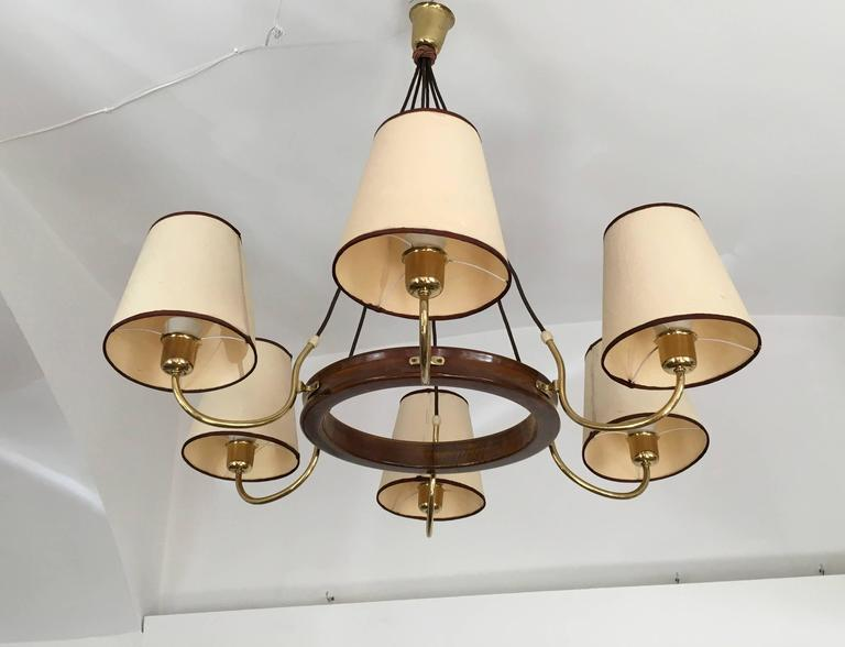 Beautiful Large Brass Chandelier Attributed to J.T. Kalmar For Sale 2
