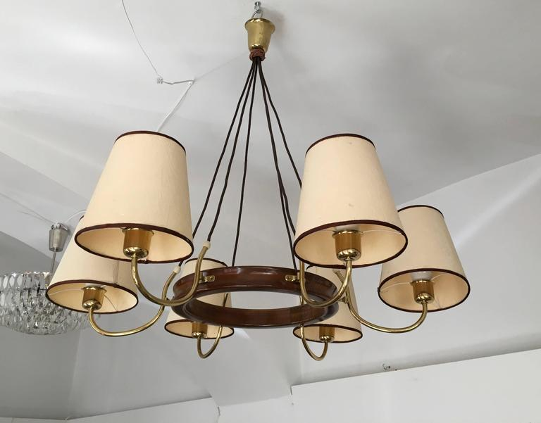 Mid-20th Century Beautiful Large Brass Chandelier Attributed to J.T. Kalmar For Sale