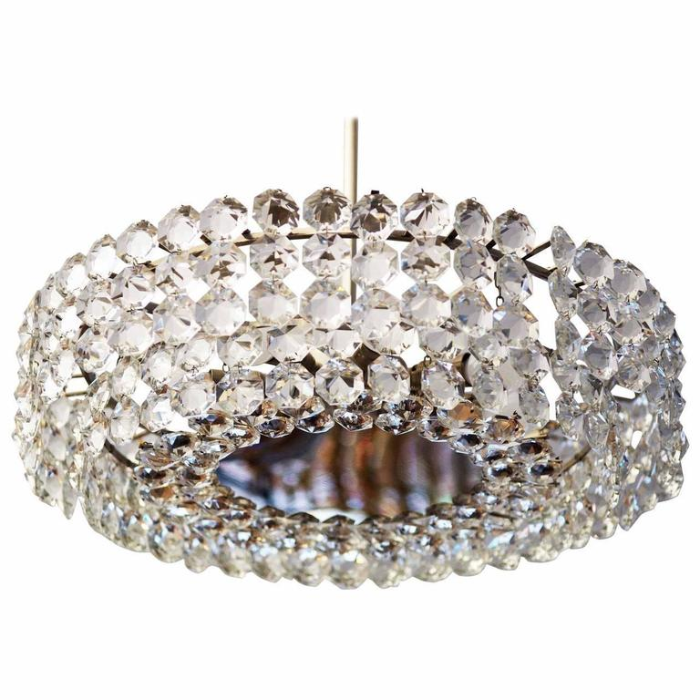 Mid Century Austrian Crystal Chandelier For