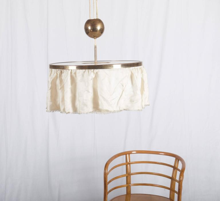 Art Deco Adjustable Brass Lamp, Attributed to Adolf Loos For Sale