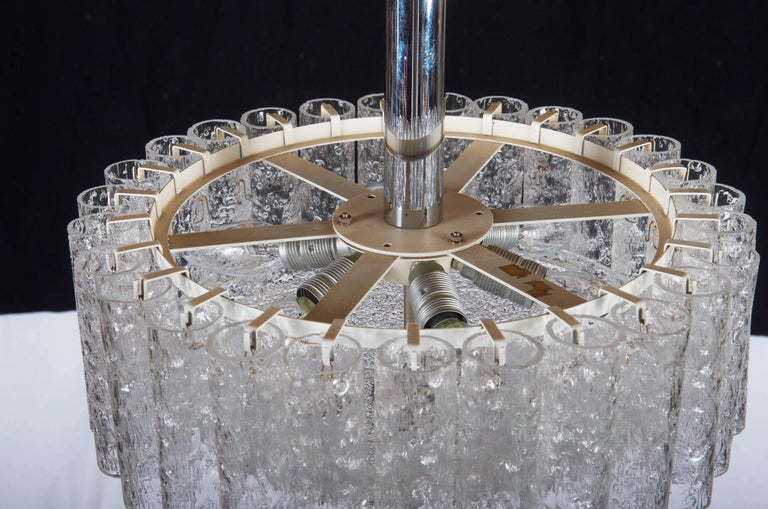 Mid-Century Modern Elegant German Mid-Century Doria Textured Glass Chandelier For Sale