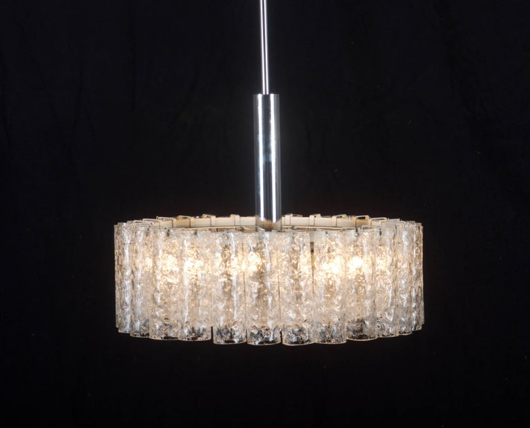 Brass Elegant German Mid-Century Doria Textured Glass Chandelier For Sale
