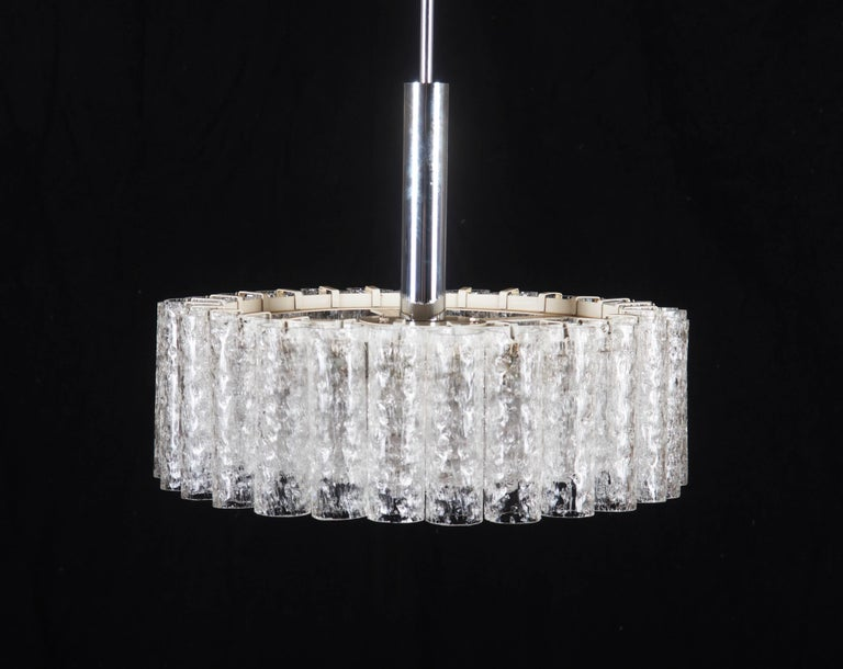 Elegant German Mid-Century Doria Textured Glass Chandelier For Sale 3