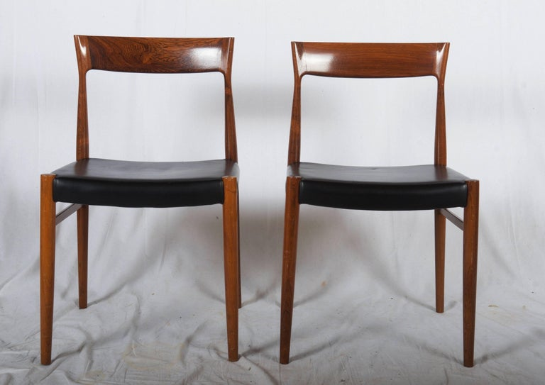 Danish Set of Six Hardwood Dining Chairs in the Style of Møller 77 Chairs For Sale