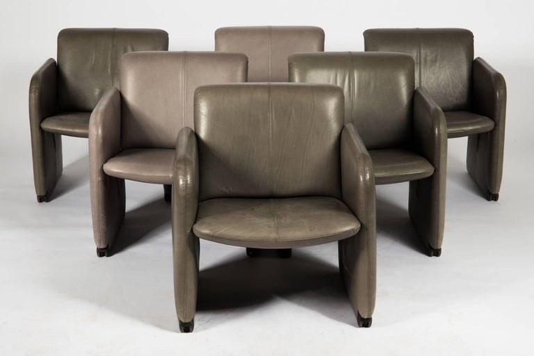 German Set of Six COR Leather Armchairs For Sale
