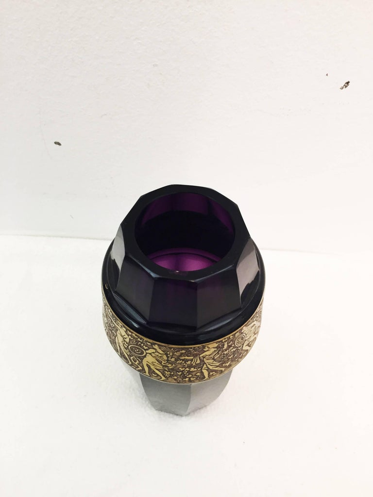 Early 20th Century Vienna Secession Grass Vase by Moser Karlsbad For Sale
